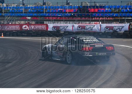 Lviv Ukraine - Juny 6 2015: Rider Dmytro ILLYUK on the car brand Nissan overcomes the track in the championship of Ukraine drifting in Lviv.
