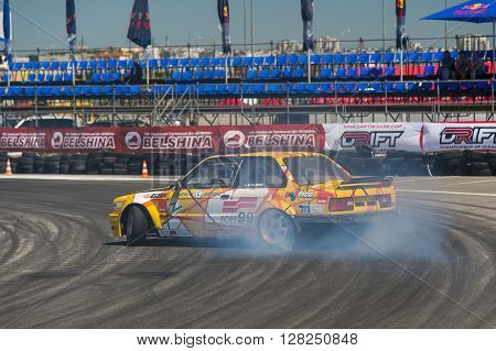 Lviv Ukraine - Juny 6 2015: Rider Viktor Palariev on the car brand BMW overcomes the track in the championship of Ukraine drifting in Lviv.
