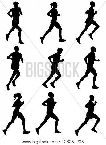marathon runners silhouettes - vector
