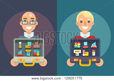 Seller Experienced Professional Case Goods Offer Sale Isolated Flat Design Character Vector Illustration