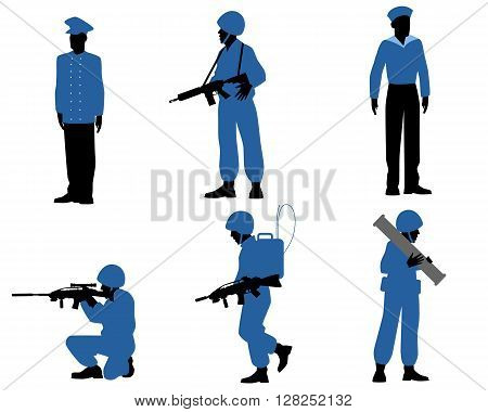 Vector illustration of a six soldiers set