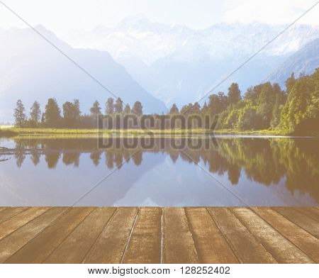 Mountain Range Lake Splendor Tranquil Nature Concept