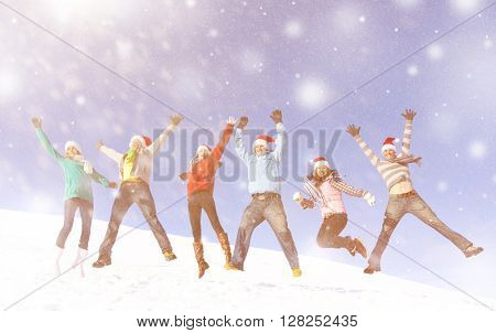 Group Friends Jumping Snow Concept