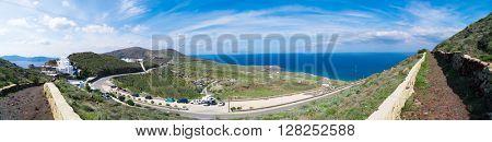 Panorama of Santorini road