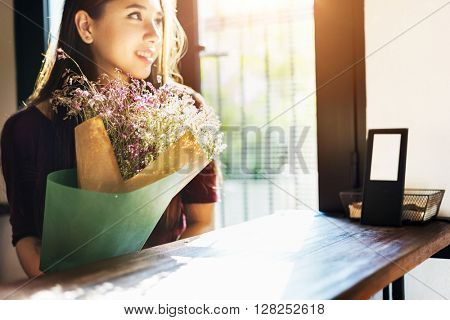 Woman Bouquet Cheerful Bar Waiting Flower Concept
