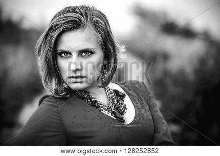Portrait Photo Of Pretty Woman In Blue Dress