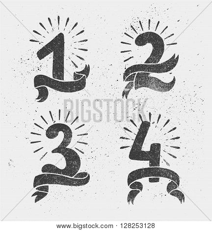 Vector set of anniversary numbers design. 1, 2, 3, 4 icons, compositions with ribbons. Black and white, hipster modern style, retro. Blackboard