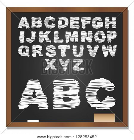 3D illustration of concept or conceptual set or collection of white grungy handwritten, sketch or scribble font, black school blackboard background
