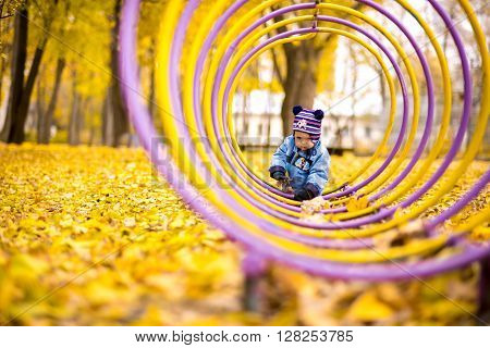 Little baby boy in the autumn park sitting in leaves