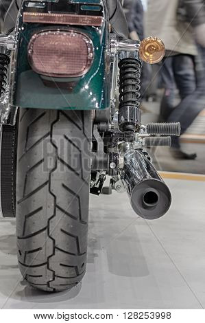 Rear View Of Exhaust Of  Motorcycle, Indoor Photo