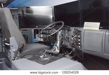 ROSTOV-ON-DON RUSSIA- APRIL 28 - Dynamic simulator locomobile KAMAZ at the exhibition center