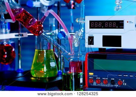 Experiment in chemical laboratory
