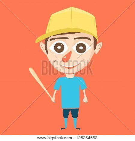 Boy character. Little ballplayer. Cartoon vector illustration. Boy on isolated background. Sport game. Baseball player