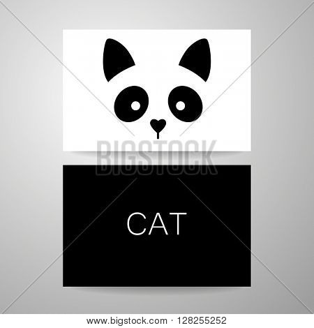Cat logo. Cat card design template. Cat illustration idea for logo, emblem, symbol, icon, label. Vector illustration.