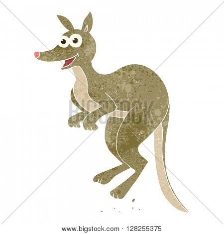 freehand retro cartoon kangaroo