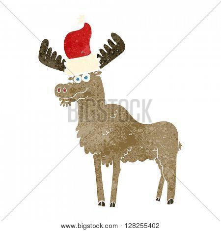 freehand retro cartoon christmas moose
