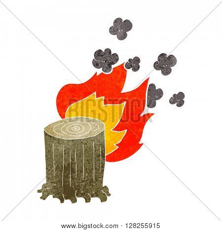 freehand retro cartoon tree stump on fire