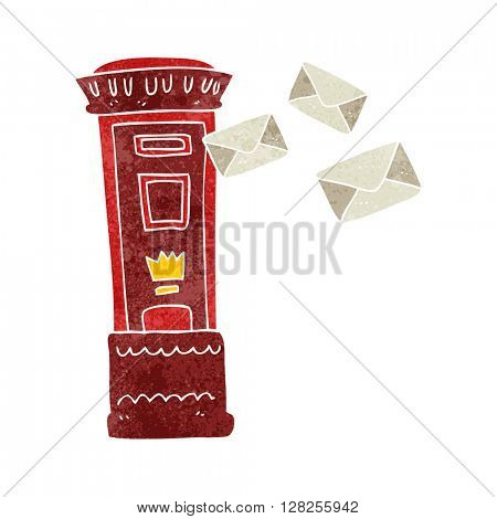 freehand retro cartoon british post box