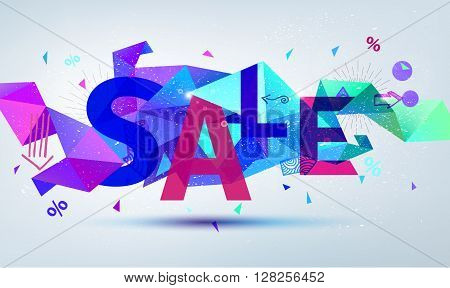 Vector sale banner. Colorful origami faceted background with sale text, web site banner, header, template, illustration