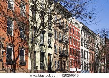 Colorful block of historic buildings along Tompkins Square Park on a bright sunny day in New York City