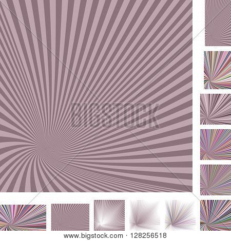 Retro vector spiral design background set. Different color, gradient, screen, paper size versions