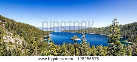 Panoramic View of Lake Tahoe Landscape in California