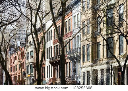 New York City block in the upper west side of Manhattan