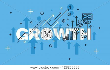 Modern thin line design concept for GROWTH website banner. Vector illustration concept for business success, financial results, banking, earnings growth and revenue, stock market.