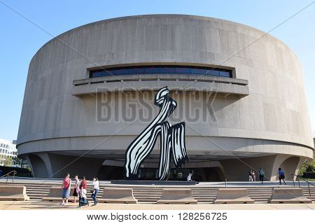 WASHINGTON, DC - APR 16: Hirshhorn Art Museum in Washington, DC, as seen on April 16, 2016. The museum was initially endowed during the 1960s with the permanent art collection of Joseph H. Hirshhorn.