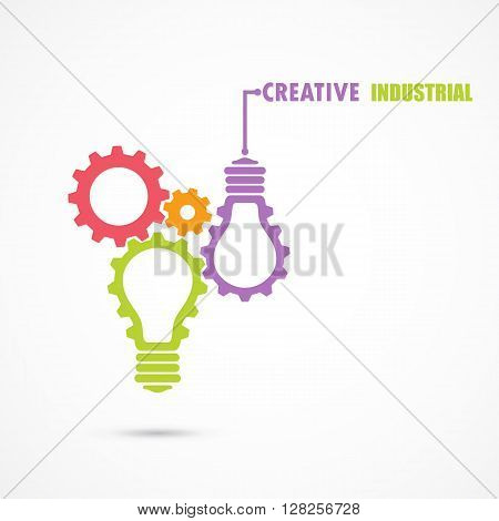 Creative light bulb and gear abstract vector design banner template. Corporate business industrial creative logotype symbol. Business and industrial concept.Vector illustration