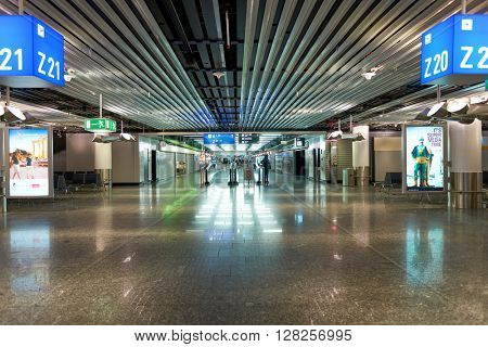 FRANKFURT, GERMANY - APRIL 07, 2016: inside of Frankfurt Airport. Frankfurt Airport is a major international airport located in Frankfurt and the major hub for Lufthansa