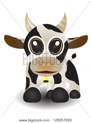cute baby cow wiht big eye and bell