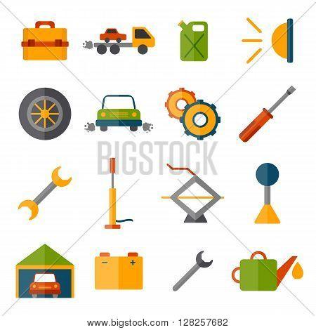 Vector car repair icon. Cartoon cute objects for car design. Car service or garage concept. Equipment tools objects for break car work. Vector cartoon car repair illustration
