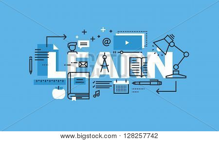 Modern thin line design concept for LEARN website banner. Vector illustration concept for education, online learning, school and university, training and courses.