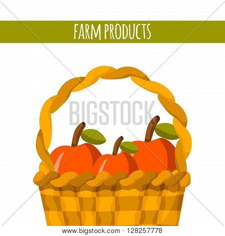 Apple basket vector. Cartoon farm production. Organic fresh farm products. Healthy snack. Organic market store concept. Apple basket vector illustration in cartoon style. Green organic farm products