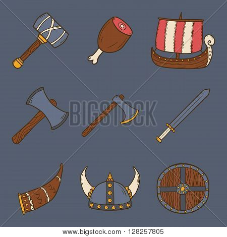 Set of cartoon hand drawn icons on viking theme. Vector cartoon scandinavian concept: viking ship hammer axe meat viking helmet sword shield. Viking things for cute hand drawn cartoon design