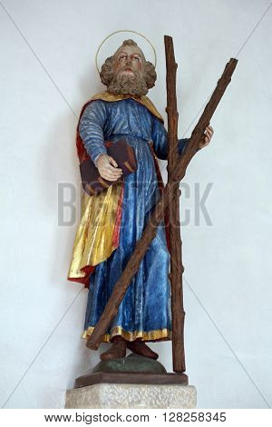 IHLINGEN, GERMANY - OCTOBER 21: Statue of Saint Andrew in the church of Saint James in Ihlingen, Germany on October 21, 2014.