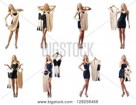 Set of photos with woman trying new clothing
