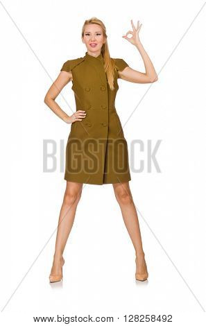 Tall caucasian model in green dress isolated on white