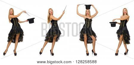 Composite photo of woman doing tricks