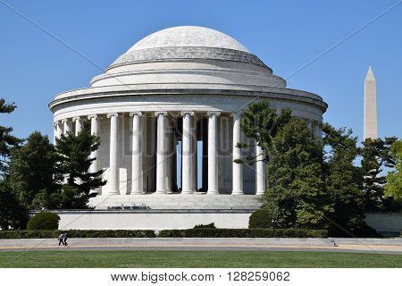 WASHINGTON DC - APR 16: Thomas Jefferson Memorial and Washington Monument in Washington, DC, as seen on April 16, 2016. Washington DC is the capital of USA.