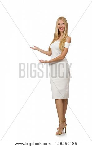 Young woman in elegant dress isolated on white