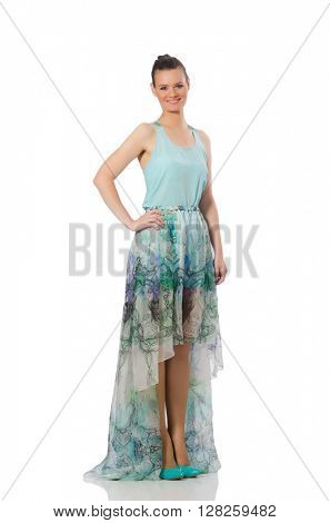 Caucasian model in blue floral dress isolated on white