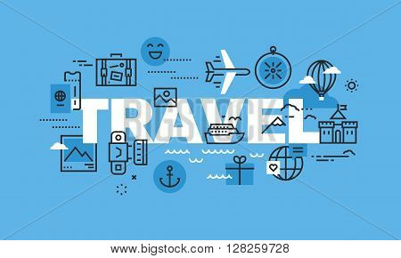 Modern thin line design concept for TRAVEL website banner. Vector illustration concept for travel agency, travel destination, summer and winter vacation.