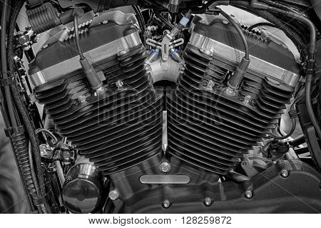 Detail of V-twin engines of motorcycle, indoor photo