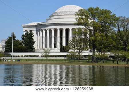 WASHINGTON DC - APR 16: Thomas Jefferson Memorial in Washington, DC, as seen on Apr 16, 2016. It was designed by the architect John Russell Pope.