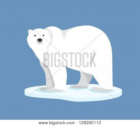 Hand drawn illustration of polar bear. Polar bear standing on ice floe, side view. Flat style