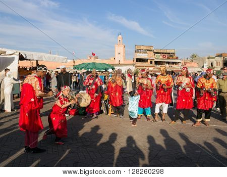 MARRAKECH MOROCCO - APR 29 2016: Gnawa Musicians performing on the Djemaa El Fna square In Marrakech Morocco