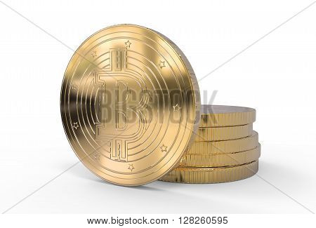 3D Illustration Of Golden Bitcoins With Clipping Path