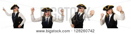 Woman boss pirate isolated on the white